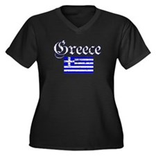 Greek distressed flag Women's Plus Size V-Neck Dar