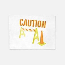 Caution 5'x7'Area Rug