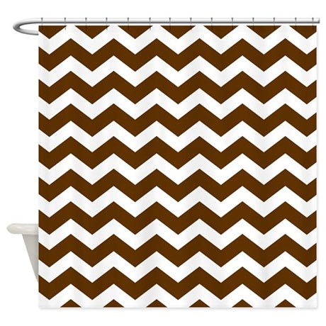 Brown White Chevron Pattern Shower Curtain By Printcreekstudio