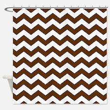 Brown White Chevron Pattern Shower Curtain