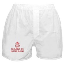 Keep Calm by focusing on Easter Islan Boxer Shorts