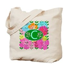 Letter C Monogram Colorful Flowers Tote Bag