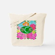 Letter C Monogram Colorful Flowers Tote Bag