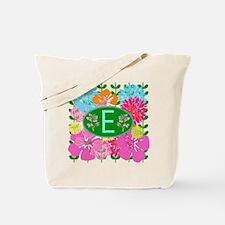 Letter E Monogram Colorful Flowers Tote Bag
