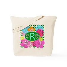 Letter R Monogram Colorful Flowers Tote Bag