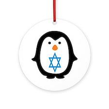 PENQUIN WITH JEWISH STAR Ornament (Round)
