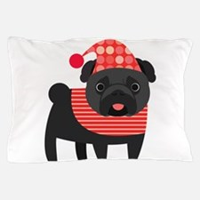 Christmas Pug - Black Pillow Case