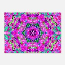 Funky Purple Floral Pattern 5'x7'Area Rug