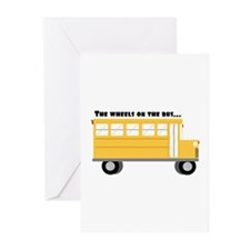 Wheels On Bus Greeting Cards