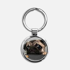 Cute Pug Round Keychain