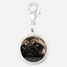 Cute Pug Silver Round Charm