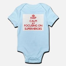 Keep Calm by focusing on Superheroes Body Suit