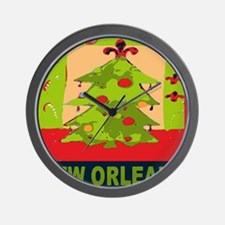 New Orleans Christmas Tree Wall Clock