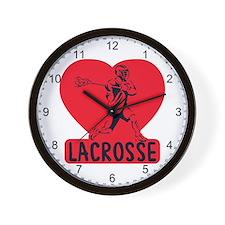 Love Lacrosse Wall Clock