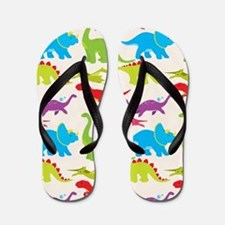 Cool Colorful Kids Dinosaur Pattern Flip Flops