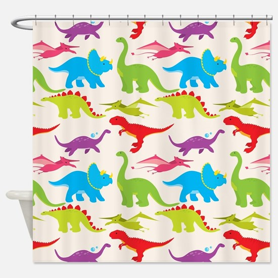 Cool Colorful Kids Dinosaur Pattern Shower Curtain