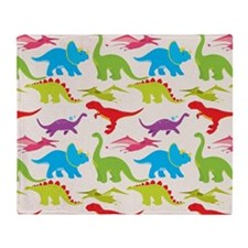 Cool Colorful Kids Dinosaur Pattern Throw Blanket