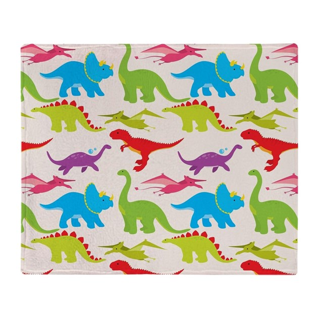 Cool Colorful Kids Dinosaur Pattern Throw Blanket By