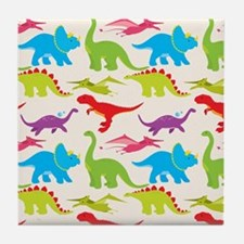 Cool Colorful Kids Dinosaur Pattern Tile Coaster