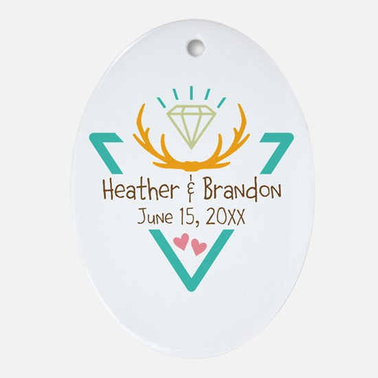 Hipster Wedding or Engagement Gift Ornament (Oval)