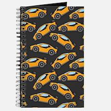 Cool Orange Race Car Pattern Journal