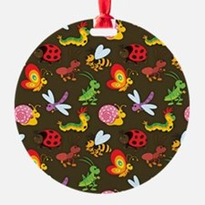 Cute Colorful Bugs, Insects Pattern Ornament