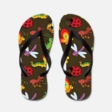 Cute Colorful Bugs, Insects Pattern Flip Flops