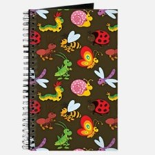 Cute Colorful Bugs, Insects Pattern Journal
