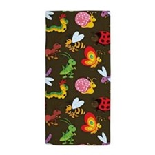 Cute Colorful Bugs, Insects Pattern Beach Towel