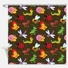 Cute Colorful Bugs, Insects Pattern Shower Curtain