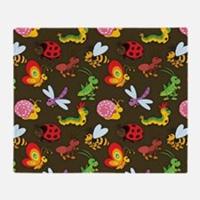 Cute Colorful Bugs, Insects Pattern Throw Blanket