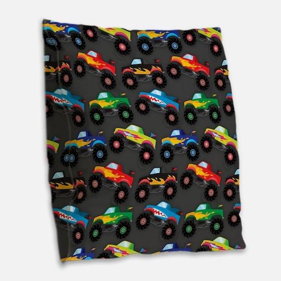 Cool Monster Trucks Pattern, Colorful Kids Burlap