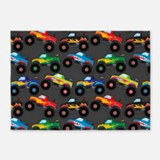 Cool Monster Trucks Pattern, Colorful Kids 5'x7'Ar