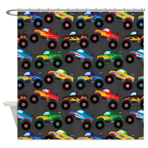 Cool Monster Trucks Pattern Colorful Kids Shower By