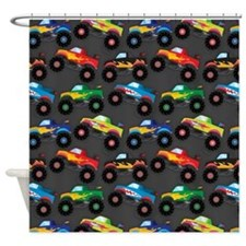 Cool Monster Trucks Pattern, Colorful Kids Shower