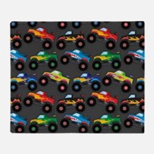 Cool Monster Trucks Pattern, Colorful Kids Throw B
