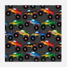 Cool Monster Trucks Pattern, Colorful Kids Tile Co