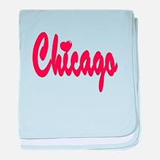 Chicago Heart baby blanket