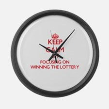 Keep Calm by focusing on Winning Large Wall Clock