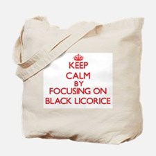 Keep Calm by focusing on Black Licorice Tote Bag