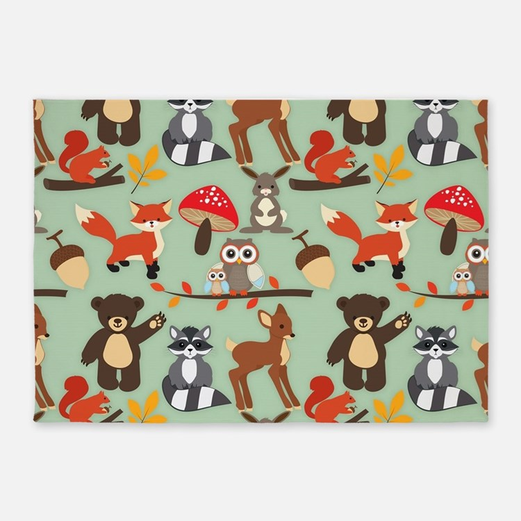 Cute Forest Woodland Animals Pattern 5'x7'Area Rug
