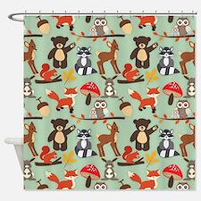 Cute Forest Woodland Animals Pattern Shower Curtai