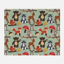 Cute Forest Woodland Animals Pattern Throw Blanket