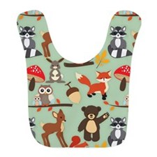 Cute Forest Woodland Animals Pattern Bib