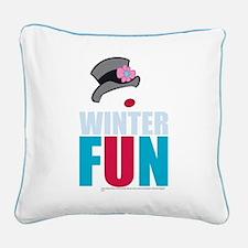Winter Fun Square Canvas Pillow