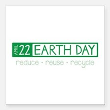 """Reduce Reuse Recycle Square Car Magnet 3"""" x 3"""""""