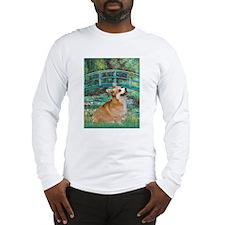Monet's Lily Pond Bridge & Corgi Lg Sleeve T-Shirt