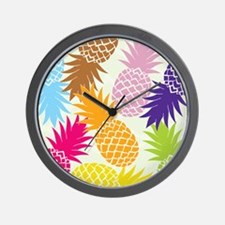 Colorful pineapples patterns Wall Clock
