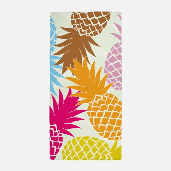 Colorful pineapples patterns Beach Towel