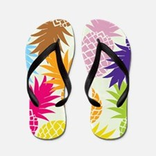 Colorful pineapples patterns Flip Flops